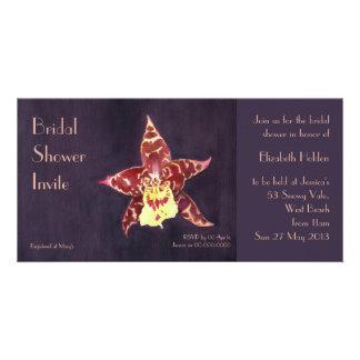 Elegant art deco black orchid Bridal Shower invite Photo Card