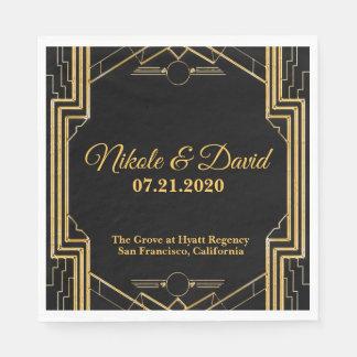 Elegant Art Deco Gatsby Wedding Napkins