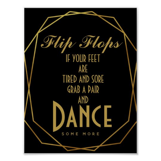 Elegant art deco Gold & Black flip flops Poster