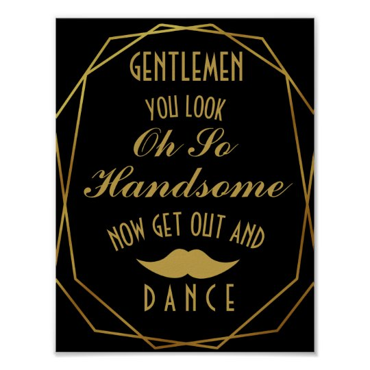 Elegant art deco Gold & Black GENTLEMEN BATHROOM Poster