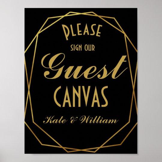 Elegant art deco Gold & Black guest canvas Poster