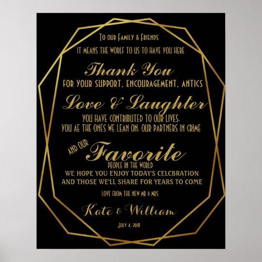 Elegant art deco Gold & Black Thanking guests Poster
