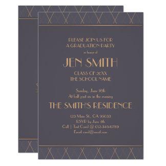 Elegant Art Deco Graduation Party Invitation. Card