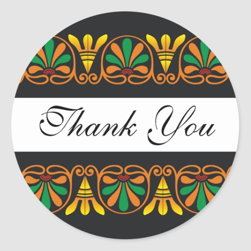 Elegant art deco pattern thank you round stickers