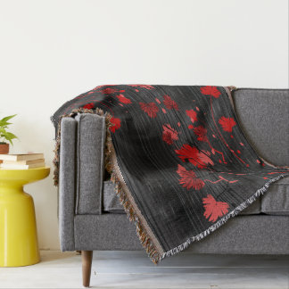 Elegant Art Deco Red Floral with Black Stripes Throw Blanket