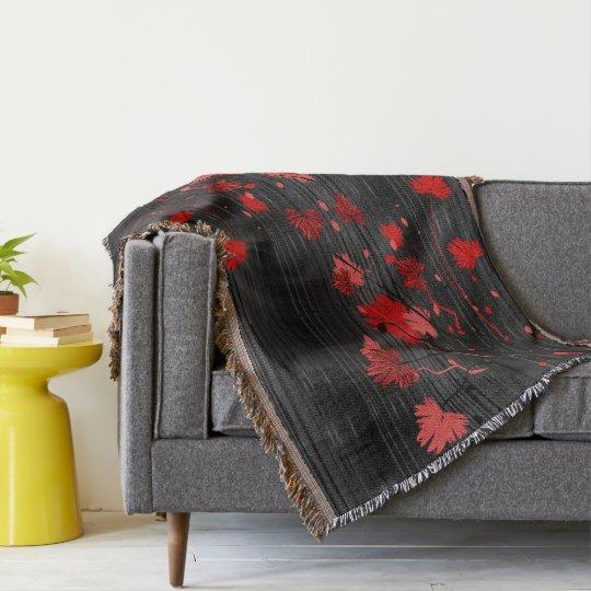 Elegant Art Deco Red Floral with Black Stripes Throw Blanket
