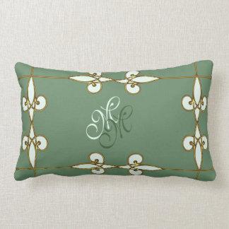 Elegant art deco vintage floral gold monogram lumbar pillow