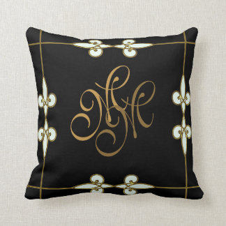 Elegant art deco vintage floral gold monogram throw pillow