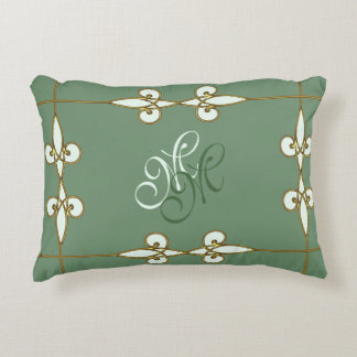 Elegant art deco vintage floral lilies monogram decorative pillow