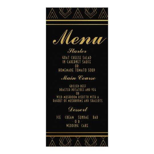 Elegant art deco wedding menu  TEMPLATE