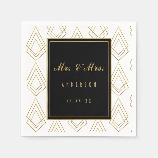 Elegant art deco wedding napkin wedding disposable napkin