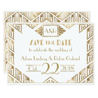 Elegant Art Deco Wedding Save The Date Card