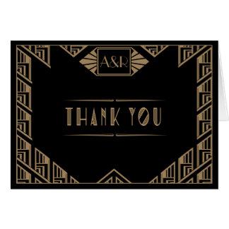 Elegant Art Deco Wedding Thank You Card
