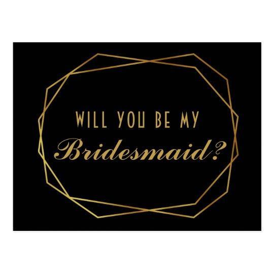 Elegant art deco Will you be my bridesmaid card