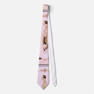 Elegant Art Deco Woman in Pink Tie