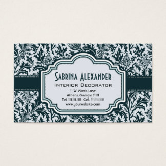 Elegant Art Nouveau Arts and Crafts Green Pattern Business Card
