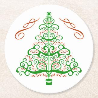 Elegant Art Nouveau Christmas Tree Round Paper Coaster