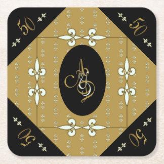 Elegant Art Nouveau Monogram 50th Anniversary Square Paper Coaster