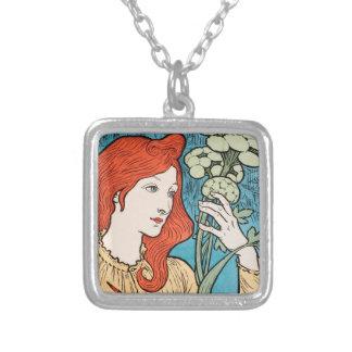 Elegant art nouveau silver plated necklace