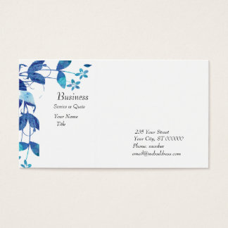 Elegant Artistic  Blue Watercolor Floral Business Card