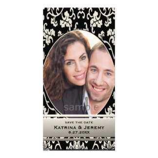Elegant Asian Floral Damask Custom Save the Date Custom Photo Card