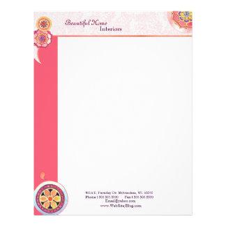 Elegant Asian Lotus Motif Pink Business Letterhead