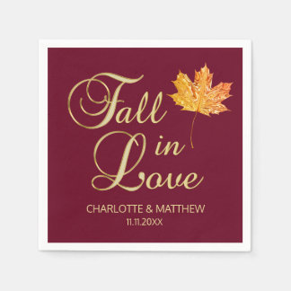 Elegant Autumn Fall in Love Burgundy Wedding Paper Napkin