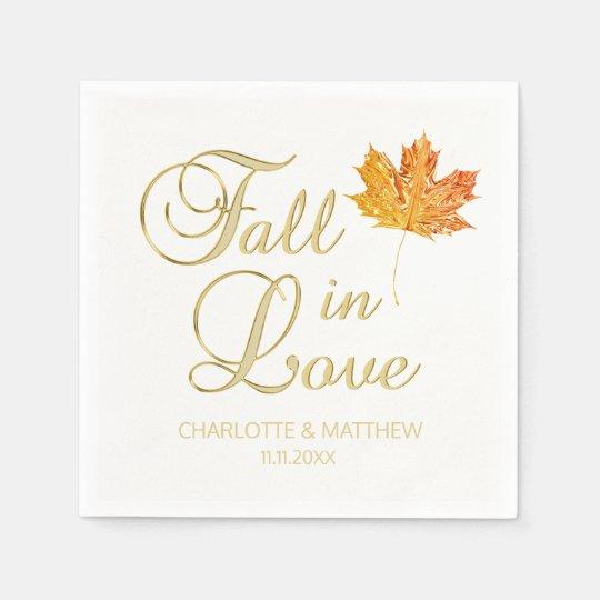Elegant Autumn Fall in Love White Colour Wedding Napkin
