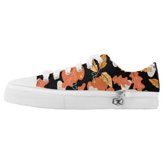 Elegant autumn leaves and pumpkin orange black Low-Top sneakers