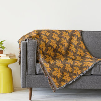 Elegant autumn maple leaves in fall colors throw blanket