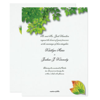 Elegant Autumn Oak  Chic Minimalist Wedding Card
