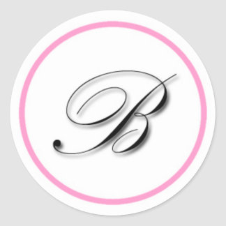 "Elegant ""B"" monogram sticker: Pink and black Classic Round Sticker"