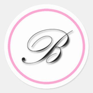 """Elegant """"B"""" monogram sticker: Pink and black Round Sticker"""