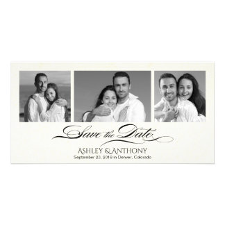 Elegant B&W Photo Collage Wedding Save the Date Personalized Photo Card