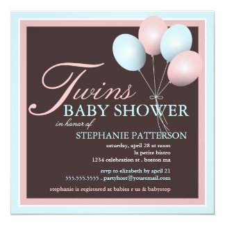 "Elegant Baby Balloon Twins Baby Shower Invitation 5.25"" Square Invitation Card"