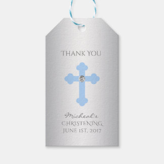 Elegant Baby Blue Cross Baptism/Christening Boy Gift Tags