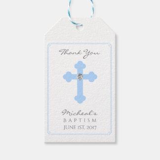 Elegant Baby Blue Cross Baptism/Christening Boy Gift Tags