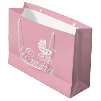 Elegant baby buggy carriage custom baby shower large gift bag