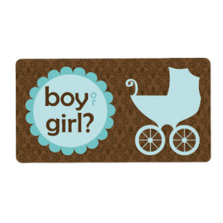 Elegant Baby Carriage Gender Reveal Party Shipping Label