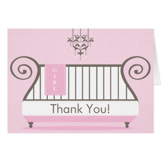 elegant baby crib baby shower thank you note card zazzle