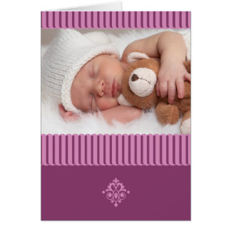 Elegant Baby Girl Birth Announcement Photo Card