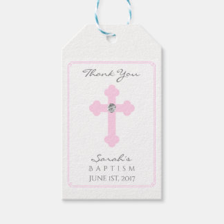 Elegant Baby Pink Cross Baptism/Christening Girl Gift Tags