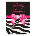 Elegant Baby Shower Zebra Stripes Hot Pink Bow