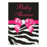 Elegant Baby Shower Zebra Stripes Hot Pink Bow Invitations