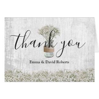 Elegant Baby's Breath Jar Floral Wedding Thank You Card