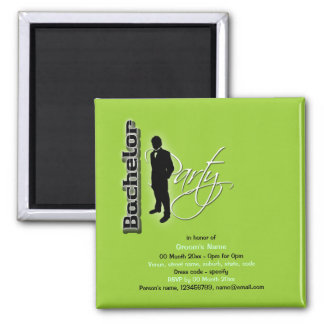 "Elegant ""bachelor party"" stag black lime square magnet"