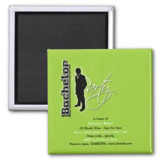 "Elegant ""bachelor party"" stag black lime square magnet"
