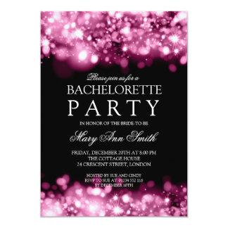 Elegant Bachelorette Party Sparkling Lights Pink Card