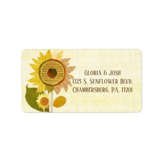 Elegant Backyard Sunflowers Wedding Address Label