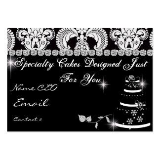 Elegant BAKERY Business Card Black White Damask